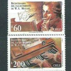Sellos: CHILE - CORREO 1992 YVERT 1089/90 ** MNH PERSONAJE. MÚSICA. Lote 156927176