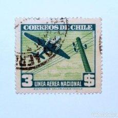 Sellos: SELLO POSTAL CHILE 1941, 3 $. LINEA AEREA NACIONAL..RAREZA DE IMPRESION !!, USADO, BUEN ESTADO *. Lote 157129342