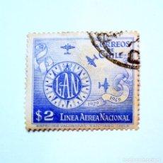 Sellos: SELLO POSTAL CHILE 1949, 2 $. LINEA AEREA NACIONAL, AVIONES SOBRE EL MAR , CORREO AÉREO , USADO. Lote 157133974