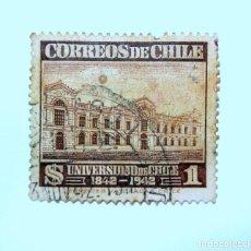 Sellos: SELLO POSTAL CHILE 1942, 1 $. UNIVERSIDAD DE CHILE 1842-1942 , USADO. Lote 157136706