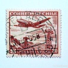 Sellos: SELLO POSTAL CHILE 1951 , 20 $. LINEA AEREA NACIONAL, AVION SOBRE TELEFERICO, CORREO AÉREO, USADO. Lote 157137858
