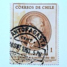 Sellos: SELLO POSTAL CHILE 1953 , 1 $. JOSE TORIBIO MEDINA, 1ER CENTENARIO DE SU NACIMIENTO, USADO. Lote 157138710