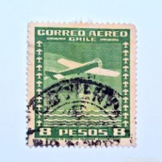Sellos: SELLO POSTAL CHILE 1935 ,8 $. AVION SOBRE EL MAR, CORREO AÉREO, USADO. Lote 157139282