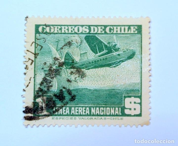 SELLO POSTAL CHILE 1948 ,1 $. AEROPLANO Y CARAVELA, LINEA AEREA NACIONAL ,DIFICIL, USADO (Sellos - Extranjero - América - Chile)