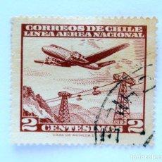 Sellos: SELLO POSTAL CHILE 1961 , 2 C. LINEA AEREA NACIONAL, AEROPLANO SOBRE TELEFERICO, USADO. Lote 157187754