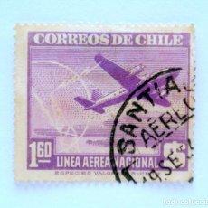 Sellos: SELLO POSTAL CHILE 1946 , 1,60 $ . LINEA AEREA NACIONAL CHILENA, AVION Y TORRE DE RADIO, USADO. Lote 157310790