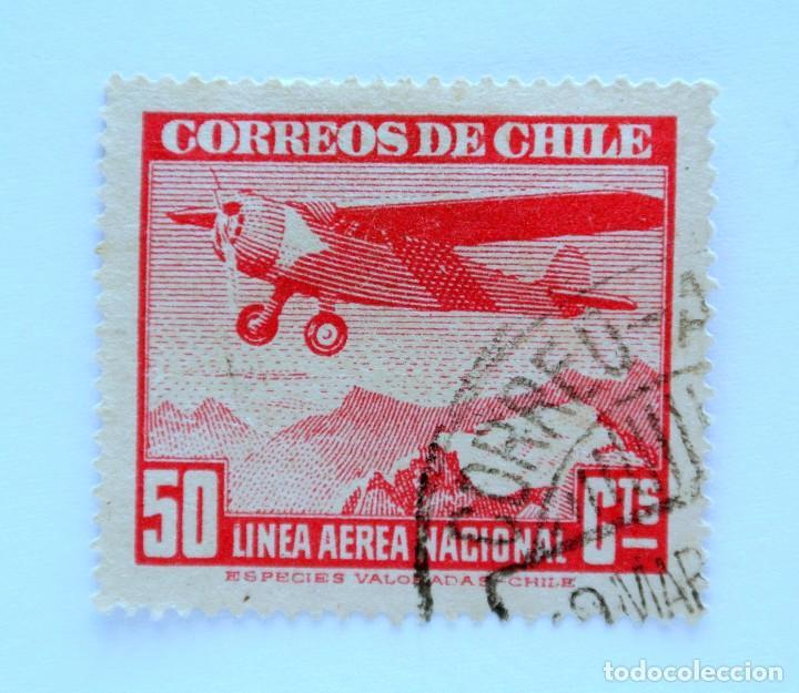 SELLO POSTAL CHILE 1943 , 50 CTS . LINEA AEREA NACIONAL, AEROPLANO Y MONTAÑAS, USADO. DIFICIL (Sellos - Extranjero - América - Chile)