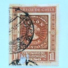 Sellos: SELLO POSTAL CHILE 1953 , 1 $ .CENTENARIO DEL PRIMER SELLO CHILENO 1853-1953 . USADO.. Lote 157523018