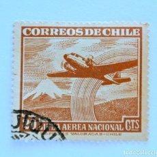 Sellos: SELLO POSTAL CHILE 1953 , 20 C .LINEA AEREA NACIONAL CHILENA -LAN-, AVION Y MONTAÑA NEVADA. USADO.. Lote 157536138