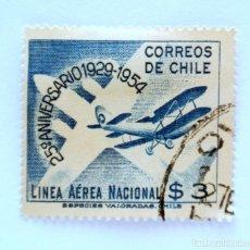 Sellos: SELLO POSTAL CHILE 1954 , 3 $ EROPLANO 25 ANIVERSARIO LINEA AEREA NACIONAL CHILENA 1929-1954. USADO.. Lote 157539998