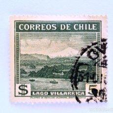 Sellos: SELLO POSTAL CHILE 1939 , 5 $ , LAGO VILLARRICA. MARCA DE AGUA ESCUDO DE ARMAS MÚLTIPLE, USADO.. Lote 157659762