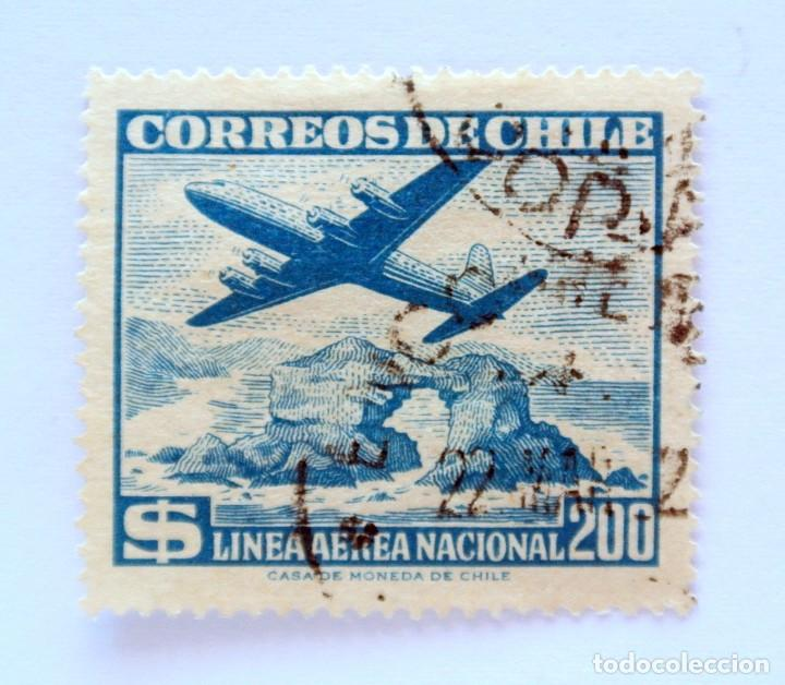 ANTIGUO SELLO POSTAL CHILE 1959 , 200 $, AVION SOBRE PORTADO DE ANTOFAGASTA , LAN , USADO (Sellos - Extranjero - América - Chile)