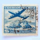 Sellos: SELLO POSTAL CHILE 1959 , 200 $, AVION SOBRE PORTADO DE ANTOFAGASTA , LAN , USADO. Lote 157774274