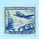 Sellos: SELLO POSTAL CHILE 1951 , 3 $, AVION Y GRUA , LINEA AEREA NACIONAL , USADO. Lote 157775214