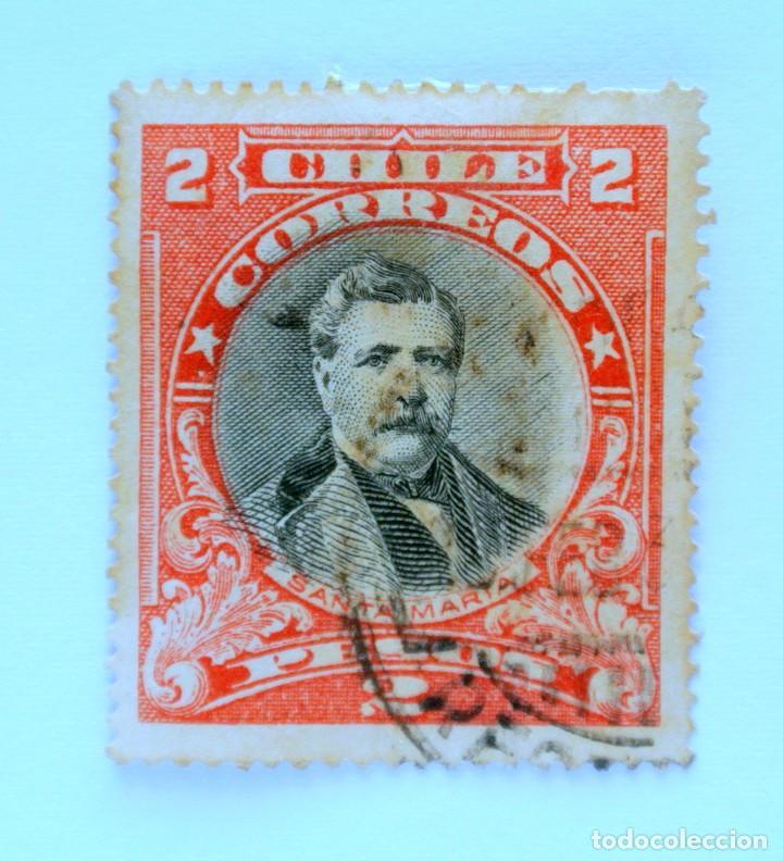 SELLO POSTAL CHILE 1934, 2 $ DOMINGO SANTA MARIA 1825-1889 ,MARCA DE AGUA ESCUDO DE ARMAS, DIFICIL (Sellos - Extranjero - América - Chile)