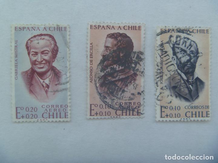 LOTE DE 3 SELLOS DE CHILE : ESPAÑA A CHILE , CORREO AEREO (Sellos - Extranjero - América - Chile)