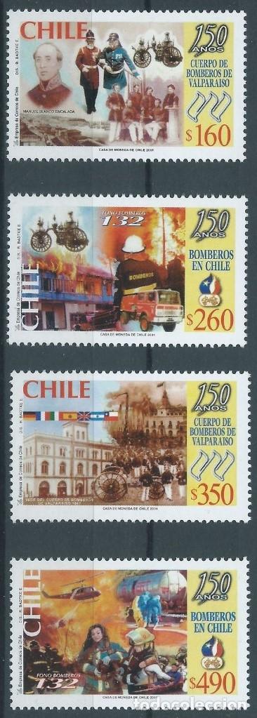SELLOS CHILE 2001 Y&T1588/91** 150 AÑOS DE BOMBEROS EN CHILE (Sellos - Extranjero - América - Chile)