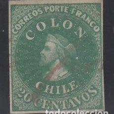 Sellos: CHILE, 1861-67 YVERT Nº 10 CRISTÓBAL COLÓN. Lote 176221338