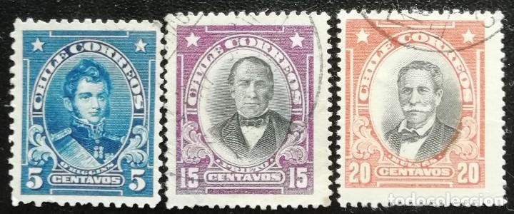 1911. CHILE. 89, 92, 93. BERNARDO O'HIGGINS, FRANCISCO PRIETO, MANUEL BULNES. USADO. (Sellos - Extranjero - América - Chile)