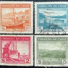 Sellos: 1938. VARIOS. CHILE. 174, 175, 176, 177. PESQUERO, VOLCÁN OSORNO, MERCANTE, LAGO VILLARRICA. USADO.. Lote 186388335