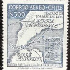 Sellos: 1958. CHILE. 272. POLAR. MAPA DEL TERRITORIO ANTÁRTICO DE CHILE. USADO.. Lote 187629475
