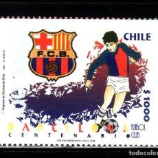 Sellos: CHILE CENTENARIO FUTBOL CLUB BARCELONA SELLO PR. HB. Lote 187701686