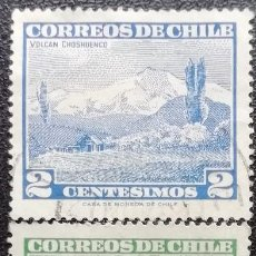 Sellos: 1961. CHILE. 291/293. VOLCÁN CHOSHUENCO, VALLE DEL RÍO MAULE, LAGUNA DEL INCA. SERIE COMPLETA. USADO. Lote 187847690