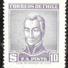 Sellos: 1956. CHILE. 262. CELEBRIDADES. GENERAL PINTO. USADO.. Lote 194279613