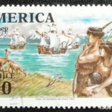 Sellos: 1991. CHILE. 1074 / 1075. INDIOS OBSERVANDO LA LLEGADA DE LAS CARABELAS COLOMBINAS. USADO.. Lote 194279936