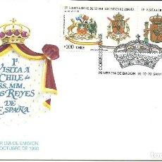 Sellos: SOBRE CON LOS SELLOS Y MATASELLO PRIMER DIA VISITA REYES A CHILE. Lote 202703232