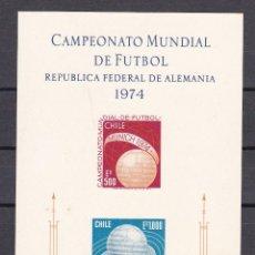 Sellos: HOJA BLOQUE DE CHILE DEL AÑO 1974 CAMPEONATO MUNDIAL FUTBOL RFA ALEMANIA ** NUEVO SIN CHARNELA. Lote 210601305