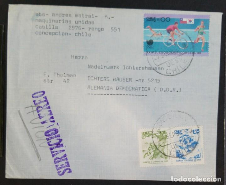 O) 1988 CHILE, OLYMPIC SEOUL, BICYCLE, SWIMMING, CYCLING, RUNNING, TALES AND LEGENDS, AIRMAIL TO G (Sellos - Extranjero - América - Chile)