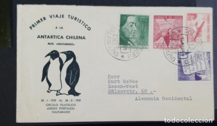 O) CHILE 1959, PRIMER VUELO TURÍSTICO A LA ANTÁRTIDA CHILENA M-N NAVARINO 1959, TERRITORIO ANTÁRTICO (Sellos - Extranjero - América - Chile)