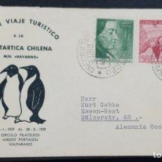 Sellos: O) CHILE 1959, PRIMER VUELO TURÍSTICO A LA ANTÁRTIDA CHILENA M-N NAVARINO 1959, TERRITORIO ANTÁRTICO. Lote 227780970