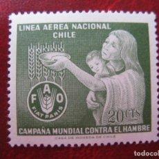 Sellos: *CHILE, 1963, CAMPAÑA MUNDIAL CONTRA EL HAMBRE, YVERT 214 AEREO. Lote 237168825