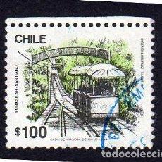 Sellos: AMÉRICA. CHILE. SERIE BÁSICA. MEDIOS DE TRANSPORTE. FUNICULAR. YT 926. USADO SIN CHARNELA (1980-). Lote 240987405