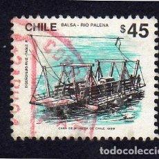 Sellos: AMÉRICA. CHILE. SERIE BÁSICA. MEDIOS DE TRANSPORTE. BALSA. YT 931. USADO SIN CHARNELA. Lote 240989175