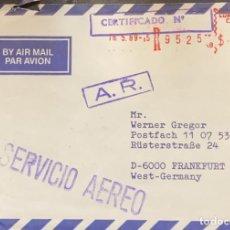 Sellos: O) 1989 CHILE, A.R. SELLO MEDIDOR - CERTIFICADO DE SERVICIO DE CORREO AÉREO, A ALEMANIA. Lote 245460950