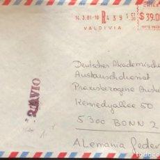 Sellos: O) 1981 CHILE, SELLO DE MEDIDOR, CANCELACION POR AVION EN ROJO, DE VALDIVIA A ALEMANIA,. Lote 245463200