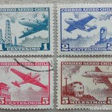 Timbres: 1960. CHILE. A-203 / A 204-B. AVIONES Y ESCENAS CHILENAS. SERIE COMPLETA. USADO.. Lote 249596785
