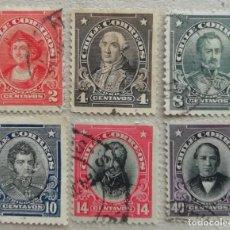 Sellos: 1912. CHILE. 101 / 106. PERSONAJES. COLÓN, ZAMBRANO, FRAIRE, O'HIGGINS, PINTO, PRIETO. USADO.. Lote 253224365