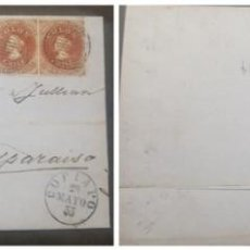 Sellos: O) 1855 CHILE, COPIAPO, CHRISTOPHER COLUMBUS, SCT 1 5C PARDO ROJIZO PAR CON CLARO, LONDRES ESTAMPADO. Lote 253741685