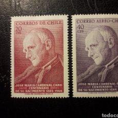 Sellos: CHILE YVERT 322 + A-243 SERIE COMPLETA NUEVA CON CHARNELA 1967 CARDENAL J.M. CARO. PEDIDO MÍNIMO 3€. Lote 263811855