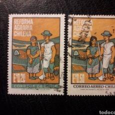 Sellos: CHILE YVERT 325 + A-246 SERIE COMPLETA USADA 1968 AGRICULTURA. REFORMA AGRARIA PEDIDO MÍNIMO 3€. Lote 263812135