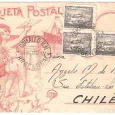 Sellos: SOBRE TARJETA POSTAL CIRCULADA EN 1943 DE COMALLO (ARGENTINA) A SAN ESTEBAN-LOS ANDES (CHILE). Lote 275144373