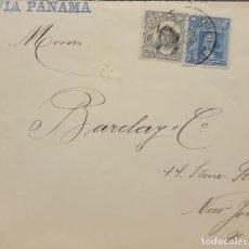 Sellos: O) 1910 CHILE, VIA PANAMÁ COLUMBUS, SCT 71 5C AZUL, SCT 72 10C GRIS, CUBIERTA CIRCULADA A EE. UU.. Lote 277088938