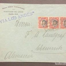 Sellos: O) 1910 CHILE, ISLAS DE JUAN FERNANDEZ EN NEGRO, VÍA LOS ANDES COLUMBUS SOBRECARGO SOBRE IMPRESIÓN 5. Lote 287956963