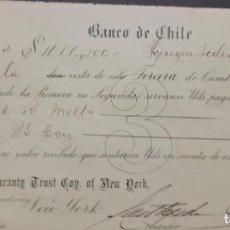 Sellos: O) CHILE 1918, CHEQUE BANCARIO, INGRESOS, 20C NARANJA, XF. Lote 295353958