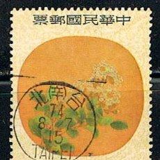 Sellos: CHINA, TAIWAN Nº 1032, ABANICO ANTIGÜO CON PINTURA EN FORMA DE LUNA CHINA, USADO. Lote 144009846