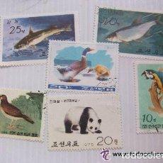Sellos: LOTE DE 5 SELLOS DE CHINA O COREA ? : ANIMALES. Lote 146325818